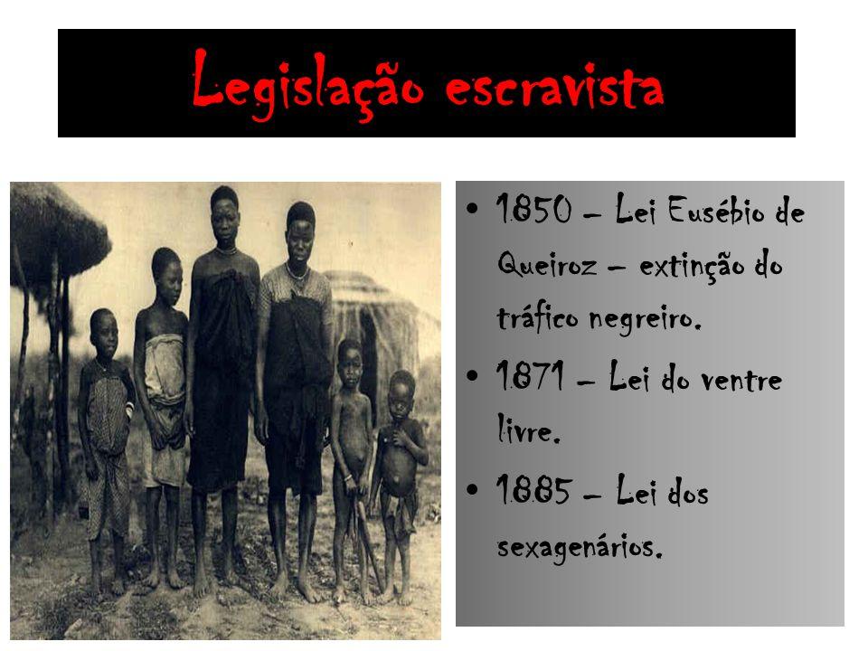 Legislação escravista 1850 – Lei Eusébio de Queiroz – extinção do tráfico negreiro. 1871 – Lei do ventre livre. 1885 – Lei dos sexagenários.