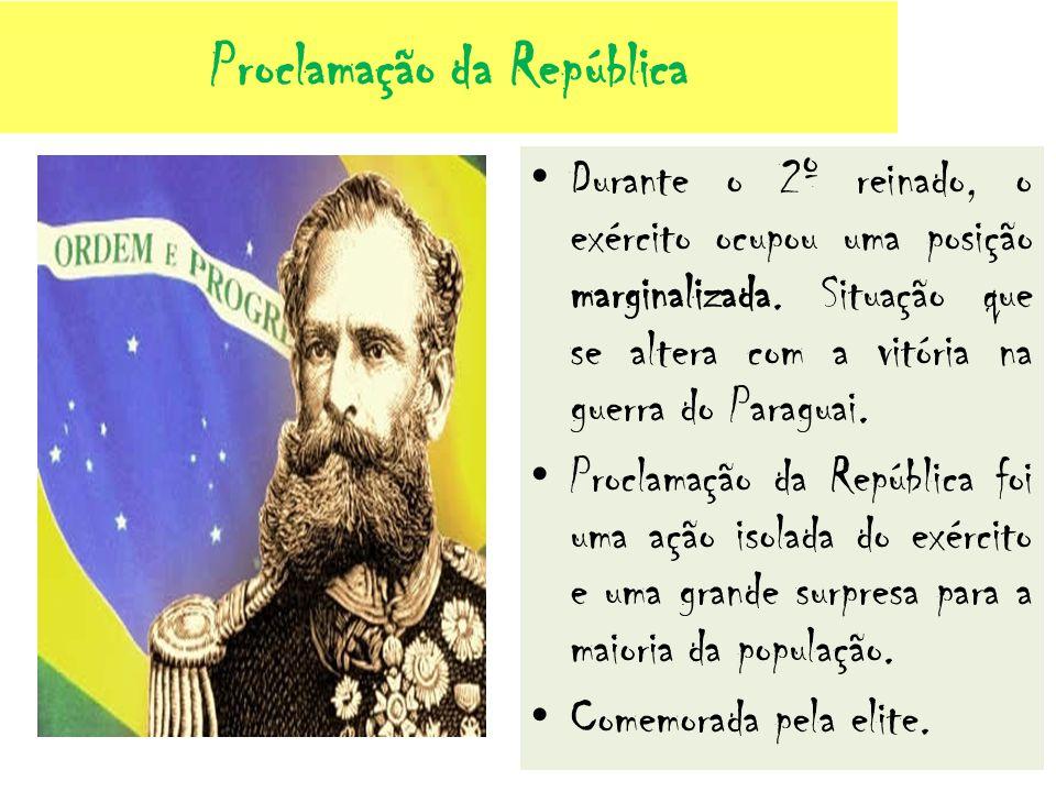 Proclamação da República Durante o 2º reinado, o exército ocupou uma posição marginalizada. Situação que se altera com a vitória na guerra do Paraguai