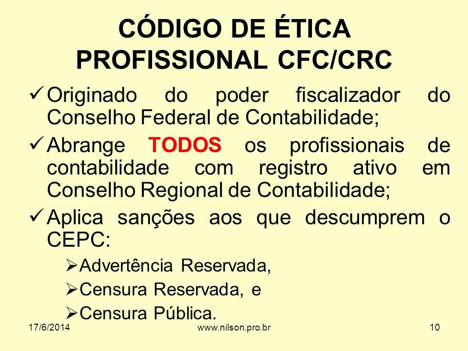 CÓDIGO DE ÉTICA PROFISSIONAL CFC/CRC Originado do poder fiscalizador do Conselho Federal de Contabilidade; Abrange TODOS os profissionais de contabili
