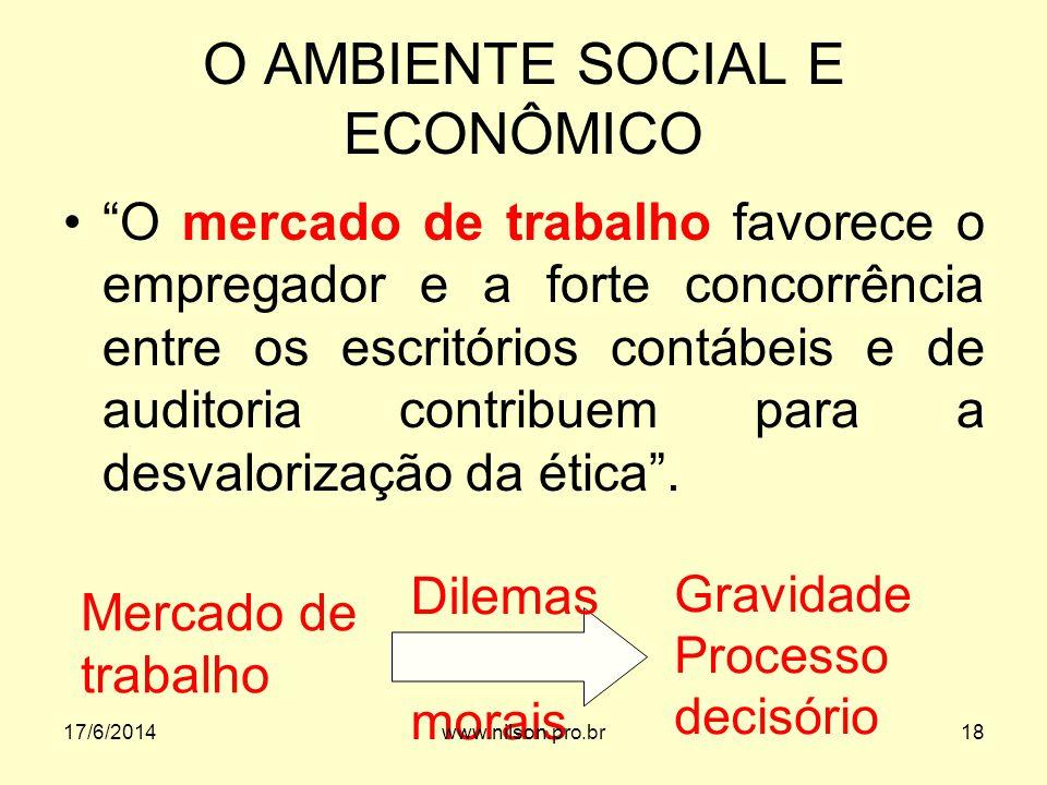 O AMBIENTE SOCIAL E ECONÔMICO O mercado de trabalho favorece o empregador e a forte concorrência entre os escritórios contábeis e de auditoria contrib