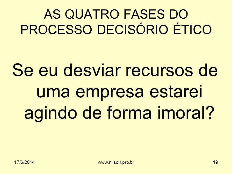AS QUATRO FASES DO PROCESSO DECISÓRIO ÉTICO Se eu desviar recursos de uma empresa estarei agindo de forma imoral? 17/6/201419www.nilson.pro.br