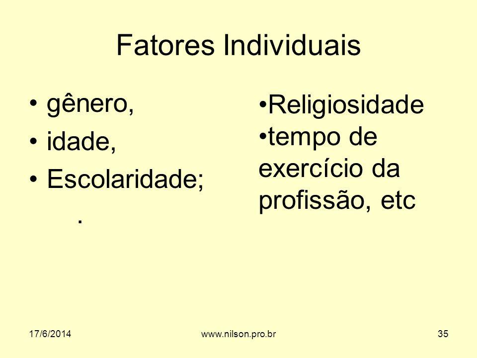 Fatores Individuais gênero, idade, Escolaridade;. Religiosidade tempo de exercício da profissão, etc 17/6/201435www.nilson.pro.br