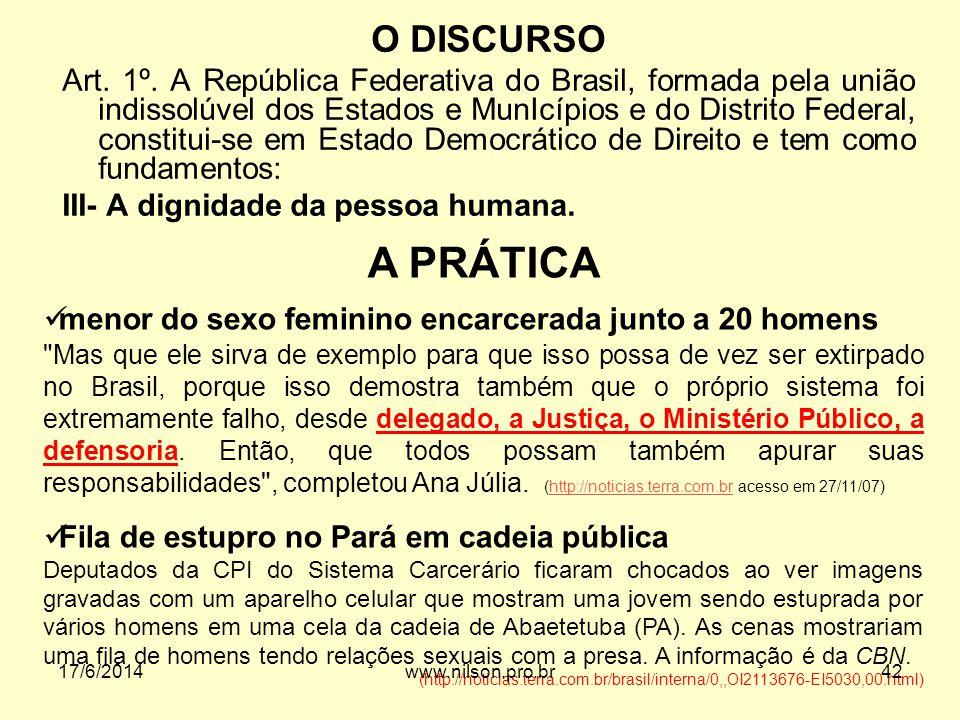 O DISCURSO Art. 1º. A República Federativa do Brasil, formada pela união indissolúvel dos Estados e MunIcípios e do Distrito Federal, constitui-se em