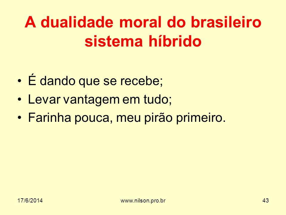 A dualidade moral do brasileiro sistema híbrido É dando que se recebe; Levar vantagem em tudo; Farinha pouca, meu pirão primeiro. 17/6/201443www.nilso