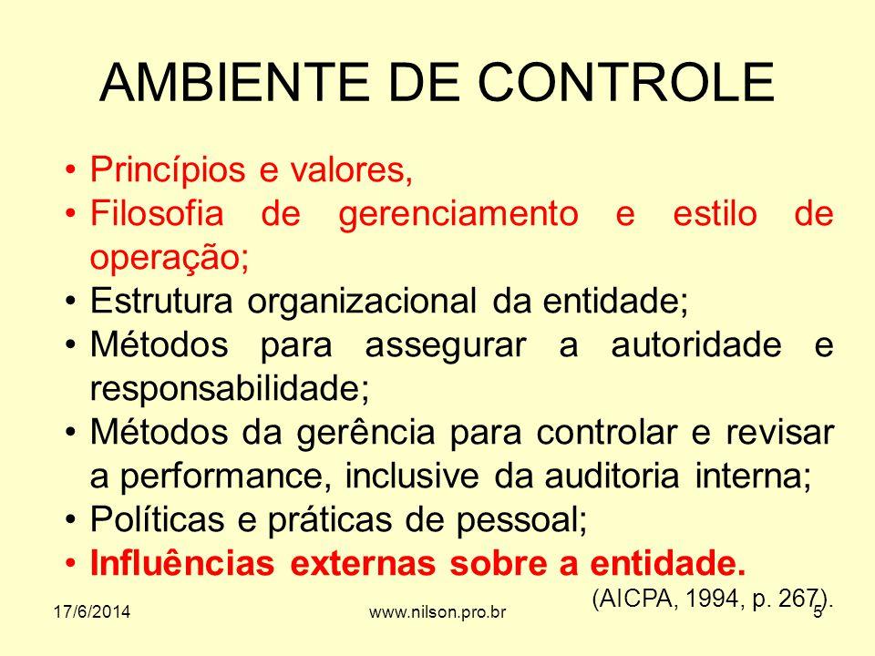 AMBIENTE DE CONTROLE Princípios e valores, Filosofia de gerenciamento e estilo de operação; Estrutura organizacional da entidade; Métodos para assegur