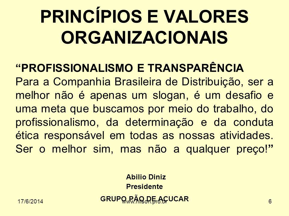 PRINCÍPIOS E VALORES ORGANIZACIONAIS PROFISSIONALISMO E TRANSPARÊNCIA Para a Companhia Brasileira de Distribuição, ser a melhor não é apenas um slogan