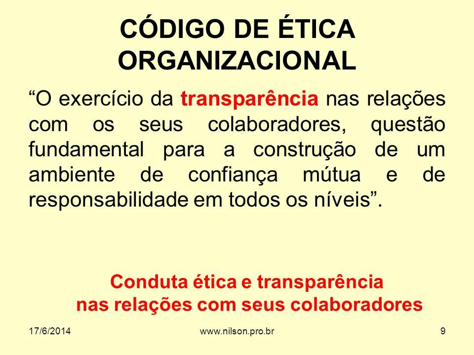 CÓDIGO DE ÉTICA ORGANIZACIONAL O exercício da transparência nas relações com os seus colaboradores, questão fundamental para a construção de um ambien