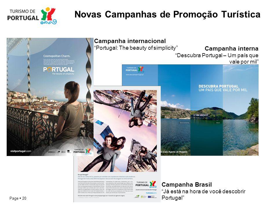 Page 20 Novas Campanhas de Promoção Turística Campanha interna Descubra Portugal – Um país que vale por mil Campanha Brasil Já está na hora de você de