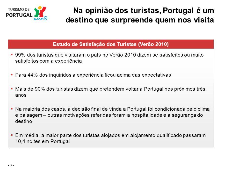 Na opinião dos turistas, Portugal é um destino que surpreende quem nos visita 7 Estudo de Satisfação dos Turistas (Verão 2010) 99% dos turistas que vi