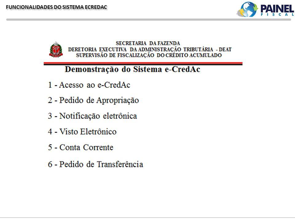 FUNCIONALIDADES DO SISTEMA ECREDAC