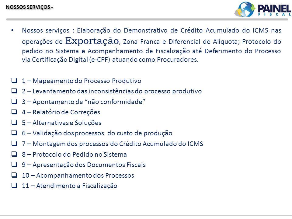 NOSSOS SERVIÇOS - Nossos serviços : Elaboração do Demonstrativo de Crédito Acumulado do ICMS nas operações de Exportação, Zona Franca e Diferencial de