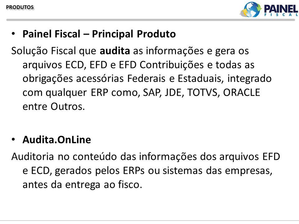 PRODUTOS Painel Fiscal – Principal Produto Solução Fiscal que audita as informações e gera os arquivos ECD, EFD e EFD Contribuições e todas as obrigaç