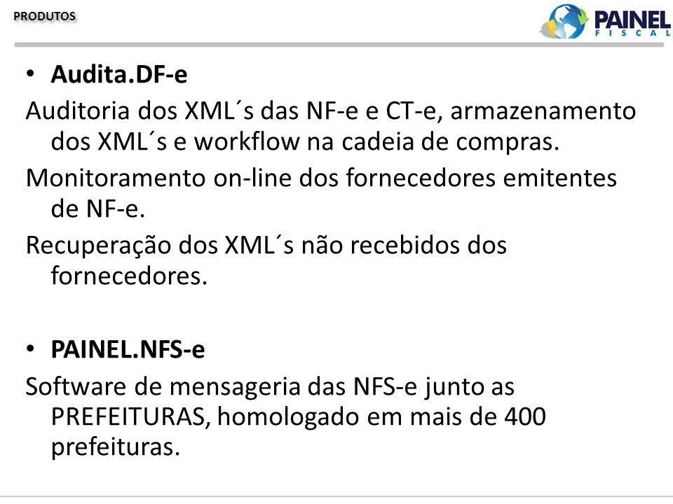 PRODUTOS Audita.DF-e Auditoria dos XML´s das NF-e e CT-e, armazenamento dos XML´s e workflow na cadeia de compras. Monitoramento on-line dos fornecedo
