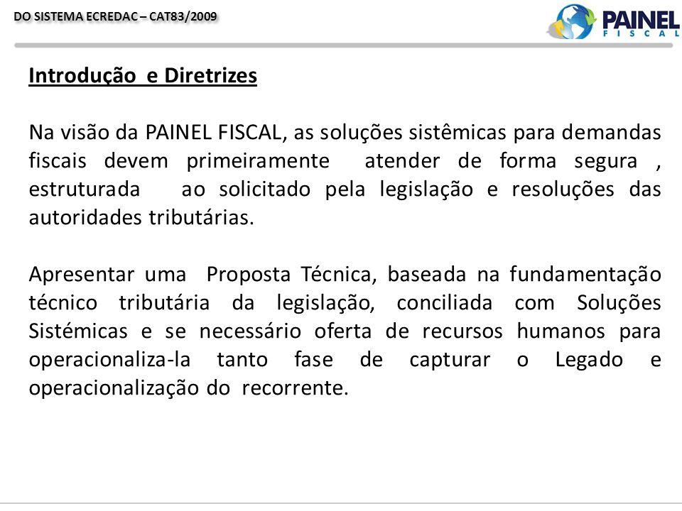 Introdução e Diretrizes Na visão da PAINEL FISCAL, as soluções sistêmicas para demandas fiscais devem primeiramente atender de forma segura, estruturada ao solicitado pela legislação e resoluções das autoridades tributárias.
