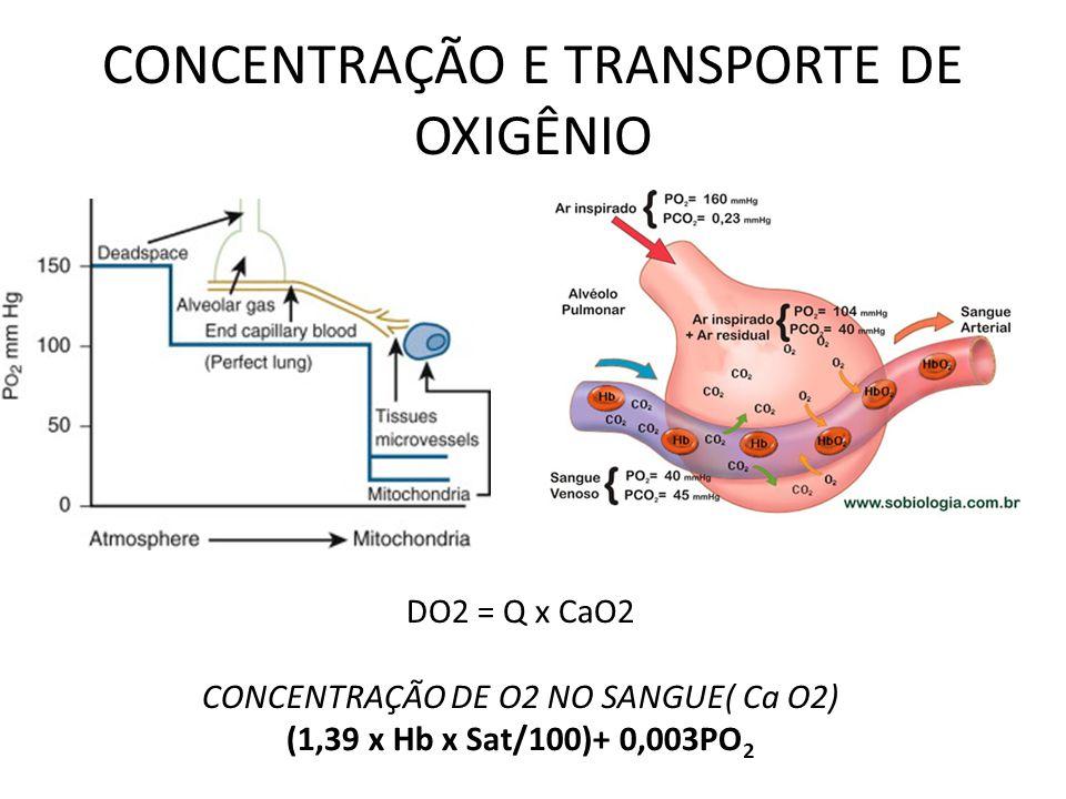 CONCENTRAÇÃO E TRANSPORTE DE OXIGÊNIO DO2 = Q x CaO2 CONCENTRAÇÃO DE O2 NO SANGUE( Ca O2) (1,39 x Hb x Sat/100)+ 0,003PO 2