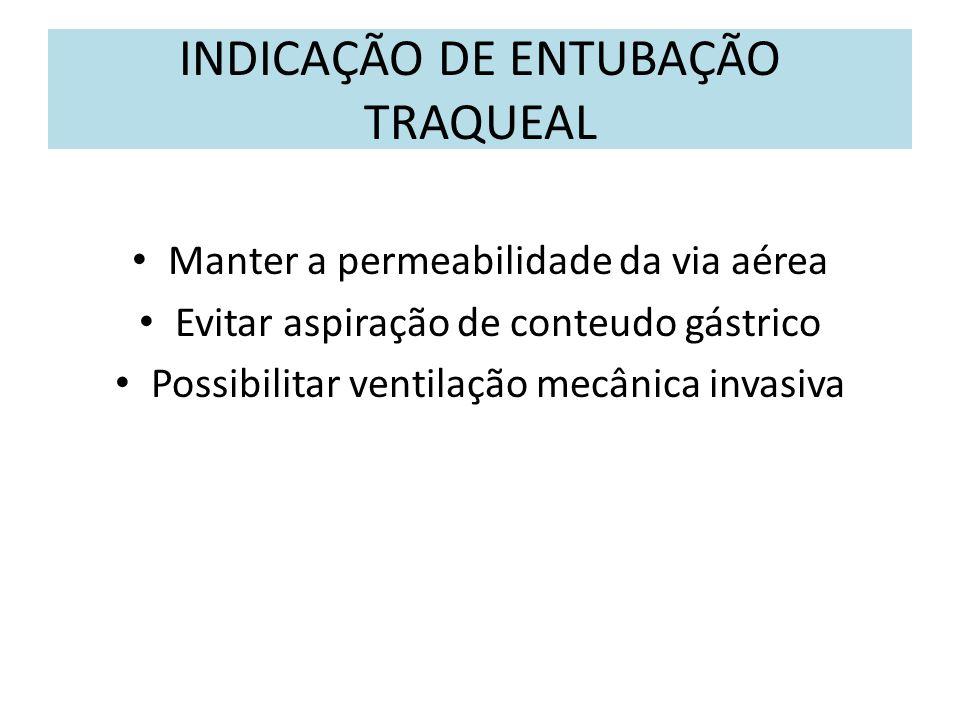 INDICAÇÃO DE ENTUBAÇÃO TRAQUEAL Manter a permeabilidade da via aérea Evitar aspiração de conteudo gástrico Possibilitar ventilação mecânica invasiva