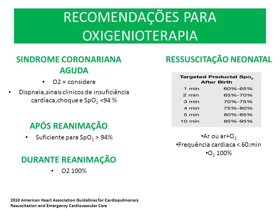 RECOMENDAÇÕES PARA OXIGENIOTERAPIA SINDROME CORONARIANA AGUDA O2 = considere Dispneia,sinais clinicos de insuficiência cardíaca,choque e SpO 2 <94 % A