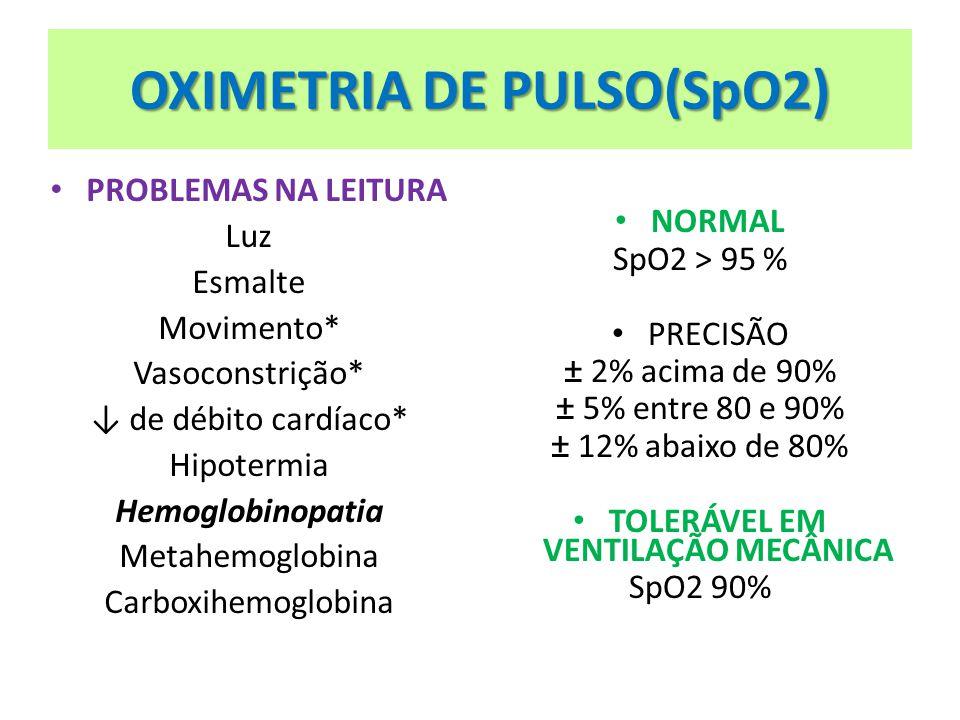 OXIMETRIA DE PULSO(SpO2) PROBLEMAS NA LEITURA Luz Esmalte Movimento* Vasoconstrição* de débito cardíaco* Hipotermia Hemoglobinopatia Metahemoglobina C