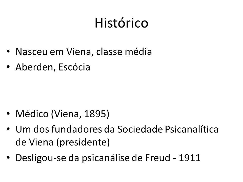 Histórico Nasceu em Viena, classe média Aberden, Escócia Médico (Viena, 1895) Um dos fundadores da Sociedade Psicanalítica de Viena (presidente) Desligou-se da psicanálise de Freud - 1911
