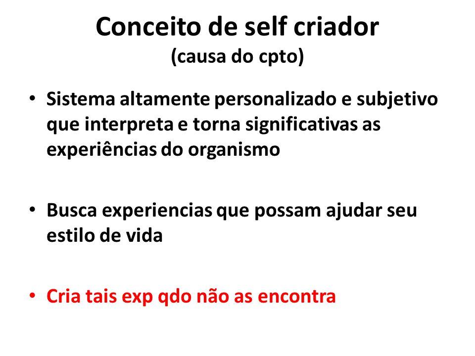 Conceito de self criador (causa do cpto) Sistema altamente personalizado e subjetivo que interpreta e torna significativas as experiências do organism