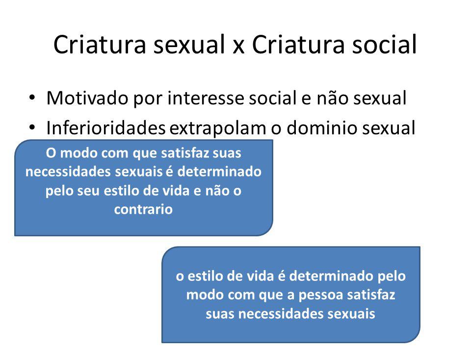 Criatura sexual x Criatura social Motivado por interesse social e não sexual Inferioridades extrapolam o dominio sexual O modo com que satisfaz suas n