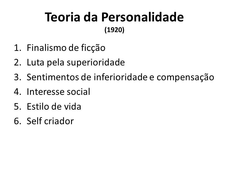 Teoria da Personalidade (1920) 1.Finalismo de ficção 2.Luta pela superioridade 3.Sentimentos de inferioridade e compensação 4.Interesse social 5.Estilo de vida 6.Self criador