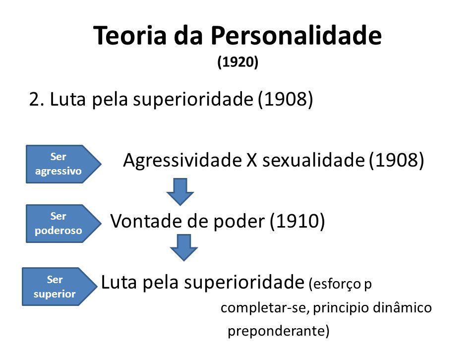 Teoria da Personalidade (1920) 2. Luta pela superioridade (1908) Agressividade X sexualidade (1908) Vontade de poder (1910) Luta pela superioridade (e
