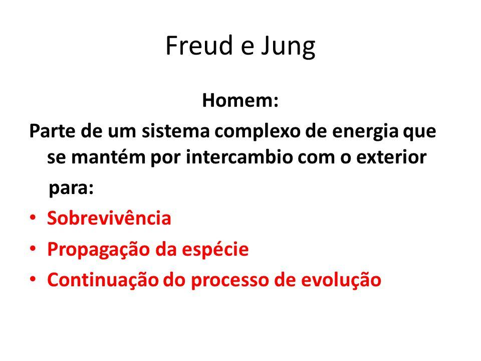 Freud e Jung Homem: Parte de um sistema complexo de energia que se mantém por intercambio com o exterior para: Sobrevivência Propagação da espécie Continuação do processo de evolução