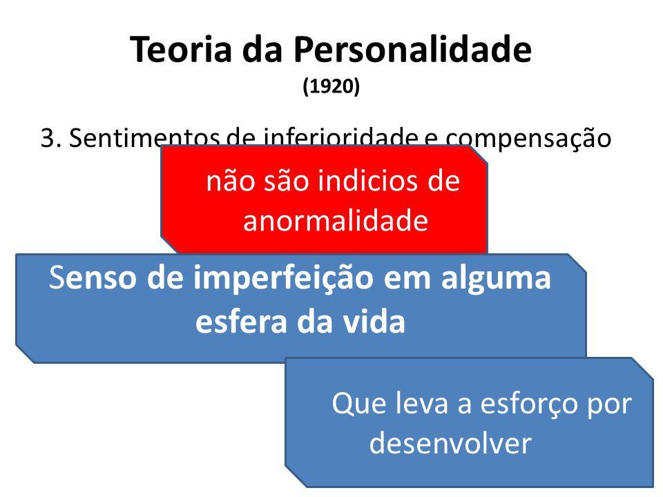 Teoria da Personalidade (1920) 3. Sentimentos de inferioridade e compensação Senso de imperfeição em alguma esfera da vida Que leva a esforço por dese