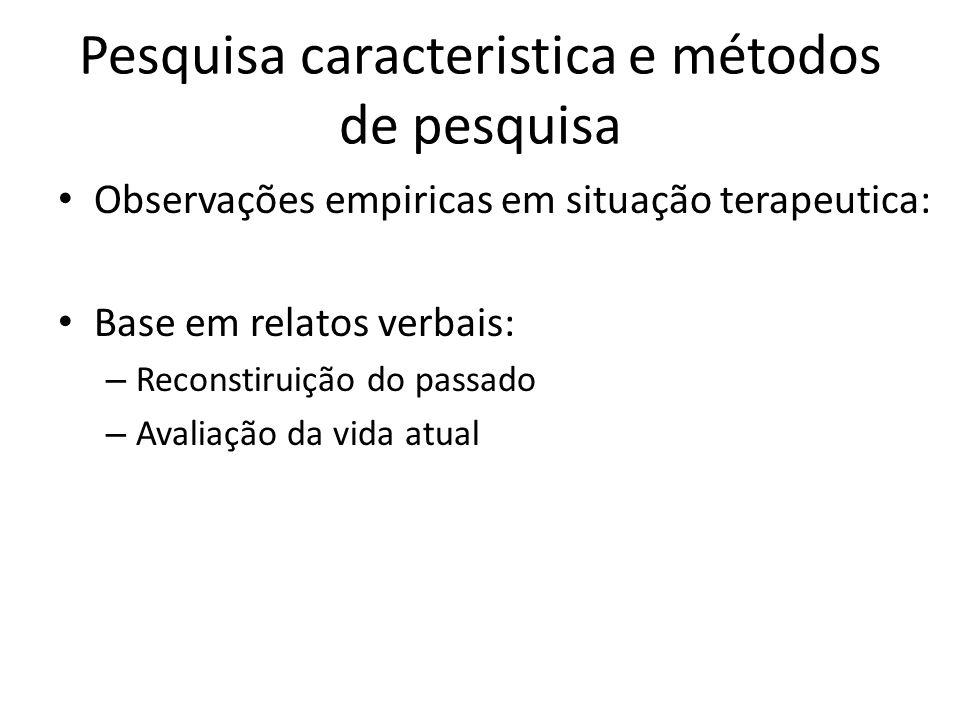 Pesquisa caracteristica e métodos de pesquisa Observações empiricas em situação terapeutica: Base em relatos verbais: – Reconstiruição do passado – Av