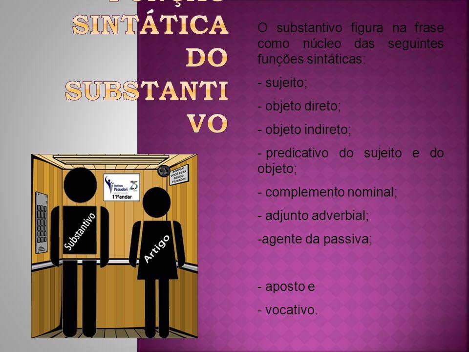 O substantivo figura na frase como núcleo das seguintes funções sintáticas: - sujeito; - objeto direto; - objeto indireto; - predicativo do sujeito e