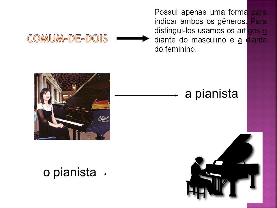 Possui apenas uma forma para indicar ambos os gêneros. Para distingui-los usamos os artigos o diante do masculino e a diante do feminino. a pianista o