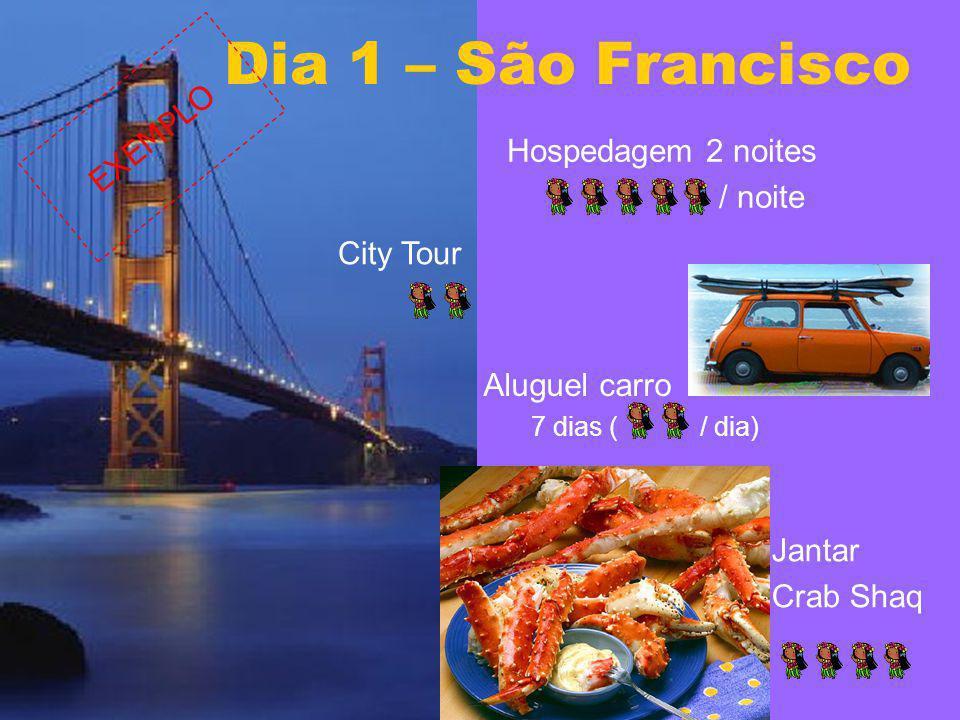 Hospedagem 2 noites / noite Dia 1 – São Francisco City Tour Aluguel carro 7 dias ( / dia) Jantar Crab Shaq EXEMPLO