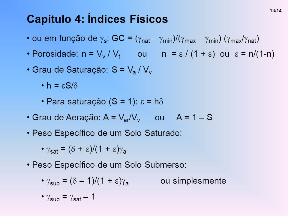 Capítulo 4: Índices Físicos ou em função de s : GC = ( nat – min )/( max – min ) ( max / nat ) Porosidade: n = V v / V t ou n = / (1 + ) ou = n/(1-n)