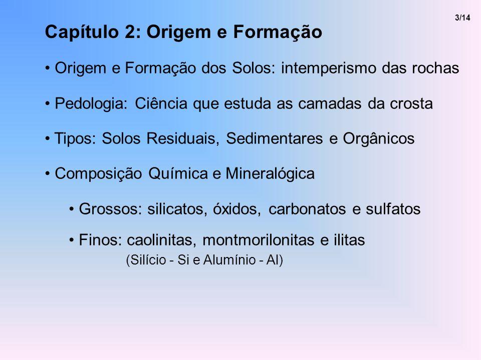 Capítulo 2: Origem e Formação Origem e Formação dos Solos: intemperismo das rochas Pedologia: Ciência que estuda as camadas da crosta Tipos: Solos Res