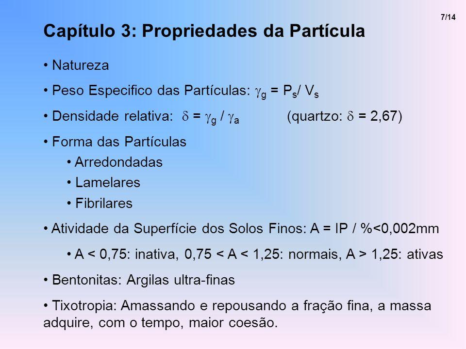 Capítulo 3: Propriedades da Partícula Natureza Peso Especifico das Partículas: g = P s / V s Densidade relativa: = g / a (quartzo: = 2,67) Forma das P