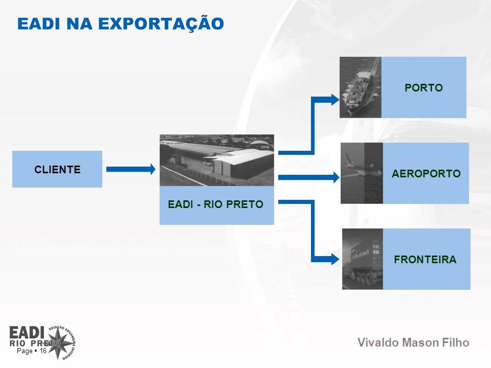 Vivaldo Mason Filho Page 16 EADI NA EXPORTAÇÃO FRONTEIRA CLIENTE AEROPORTO EADI - RIO PRETO PORTO