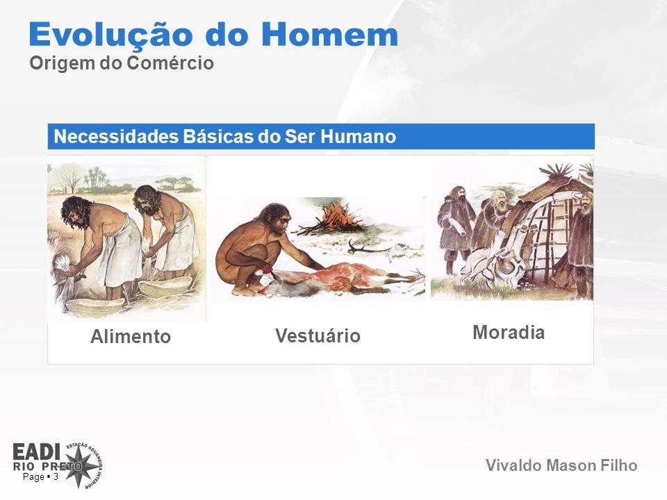 Vivaldo Mason Filho Page 3 Origem do Comércio Evolução do Homem Necessidades Básicas do Ser Humano Alimento Vestuário Moradia