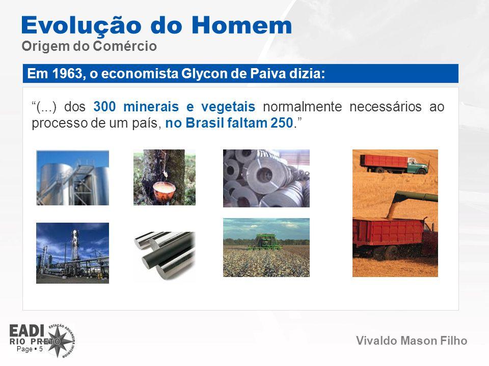 Vivaldo Mason Filho Page 5 Origem do Comércio Evolução do Homem Em 1963, o economista Glycon de Paiva dizia: (...) dos 300 minerais e vegetais normalm