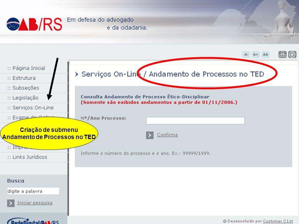 Criação de submenu Andamento de Processos no TED