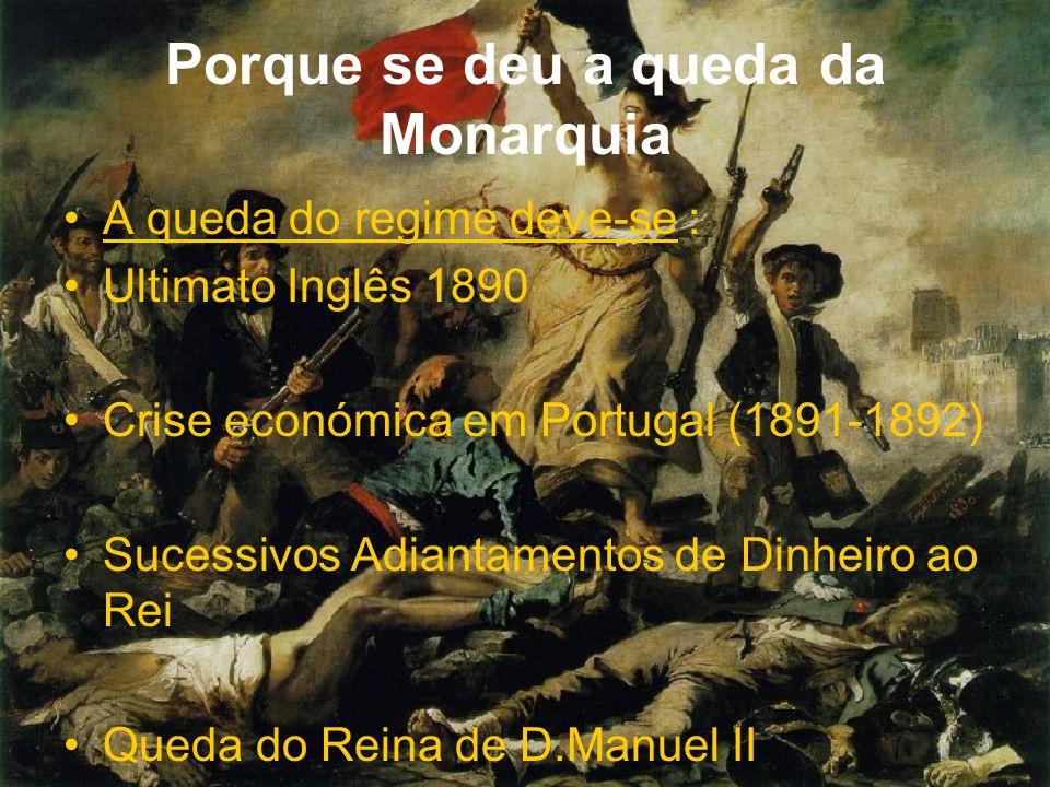 Porque se deu a queda da Monarquia A queda do regime deve-se : Ultimato Inglês 1890 Crise económica em Portugal (1891-1892) Sucessivos Adiantamentos d