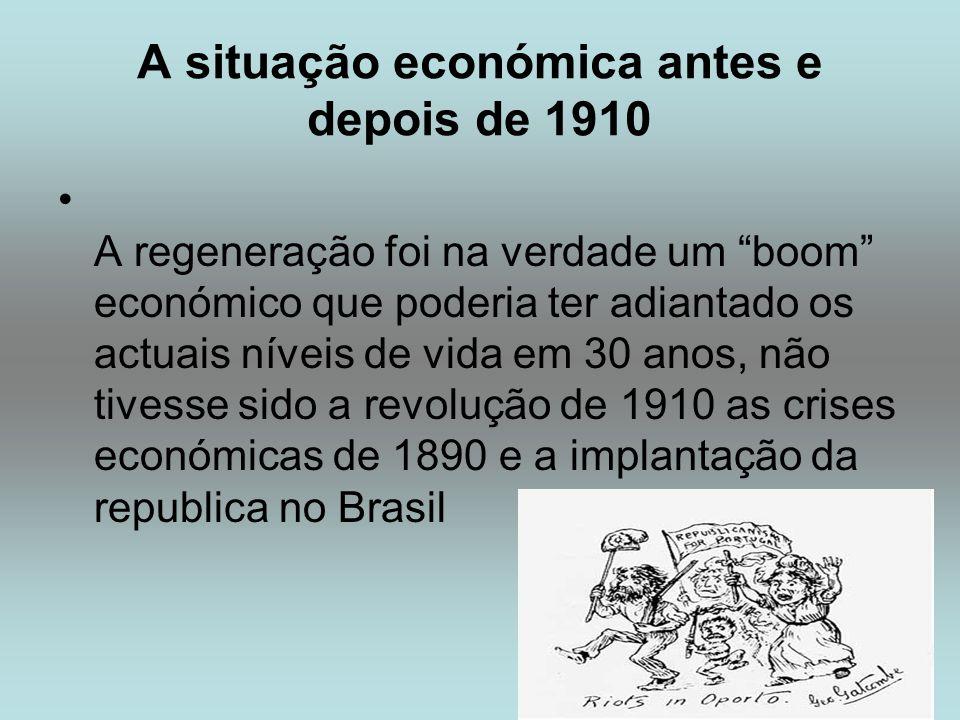 A situação económica antes e depois de 1910 A regeneração foi na verdade um boom económico que poderia ter adiantado os actuais níveis de vida em 30 a