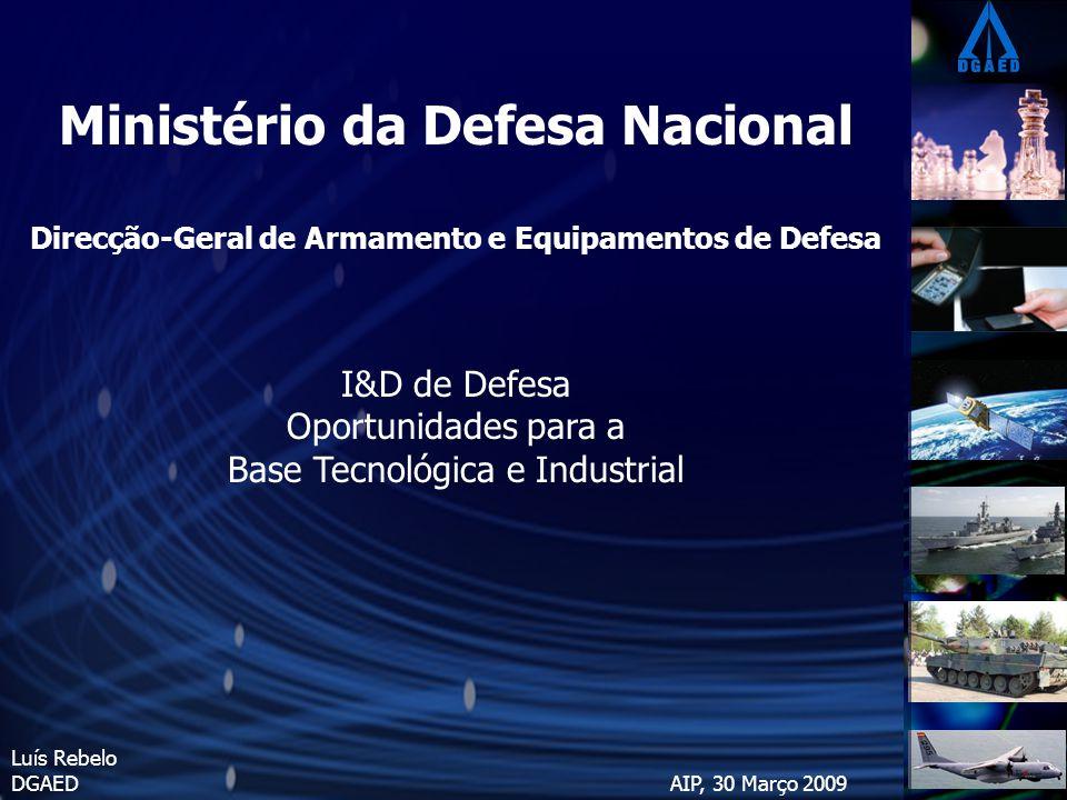 Ministério da Defesa Nacional Direcção-Geral de Armamento e Equipamentos de Defesa I&D de Defesa Oportunidades para a Base Tecnológica e Industrial Luís Rebelo DGAED AIP, 30 Março 2009