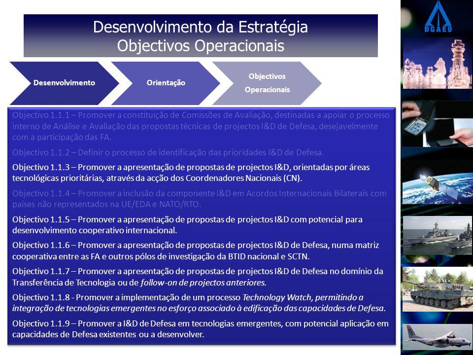 Desenvolvimento da Estratégia Objectivos Operacionais Eixos Estratégicos Vectores Operacionais Objectivos Operacionais DesenvolvimentoOrientação Objectivos Operacionais Objectivo 1.1.1 – Promover a constituição de Comissões de Avaliação, destinadas a apoiar o processo interno de Análise e Avaliação das propostas técnicas de projectos I&D de Defesa, desejavelmente com a participação das FA.