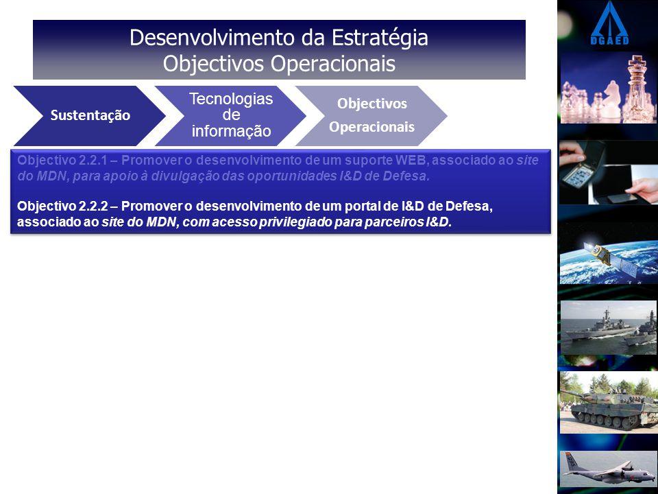 Desenvolvimento da Estratégia Objectivos Operacionais Eixos Estratégicos Vectores Operacionais Objectivos Operacionais Sustentação Tecnologias de informação Objectivos Operacionais Objectivo 2.2.1 – Promover o desenvolvimento de um suporte WEB, associado ao site do MDN, para apoio à divulgação das oportunidades I&D de Defesa.
