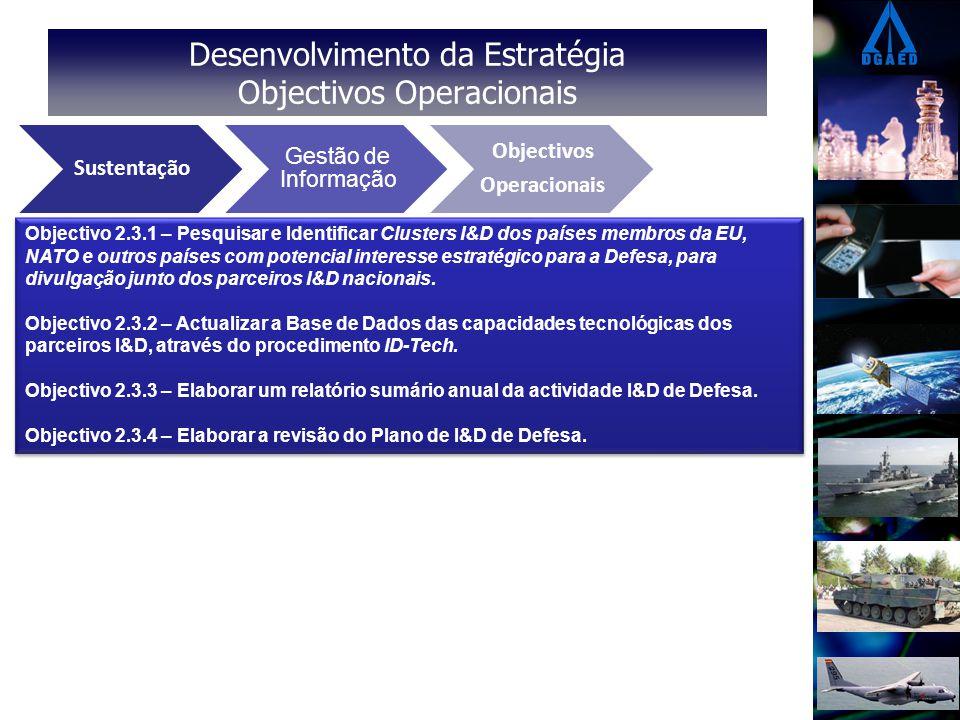 Desenvolvimento da Estratégia Objectivos Operacionais Eixos Estratégicos Vectores Operacionais Objectivos Operacionais Sustentação Gestão de Informação Objectivos Operacionais Objectivo 2.3.1 – Pesquisar e Identificar Clusters I&D dos países membros da EU, NATO e outros países com potencial interesse estratégico para a Defesa, para divulgação junto dos parceiros I&D nacionais.