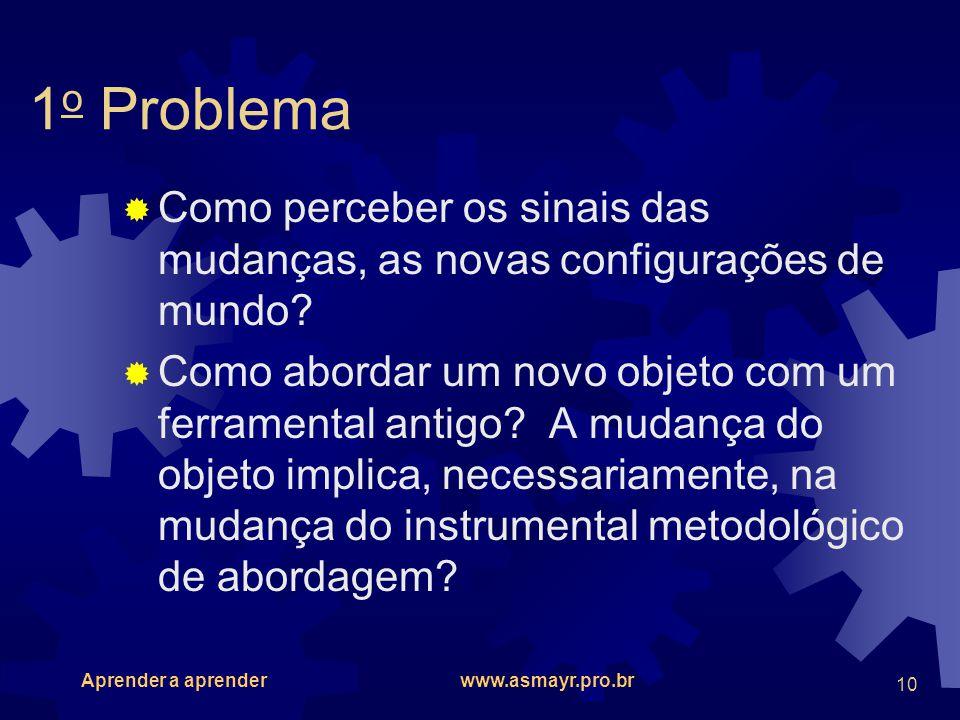 Aprender a aprender www.asmayr.pro.br 10 1 o Problema Como perceber os sinais das mudanças, as novas configurações de mundo? Como abordar um novo obje