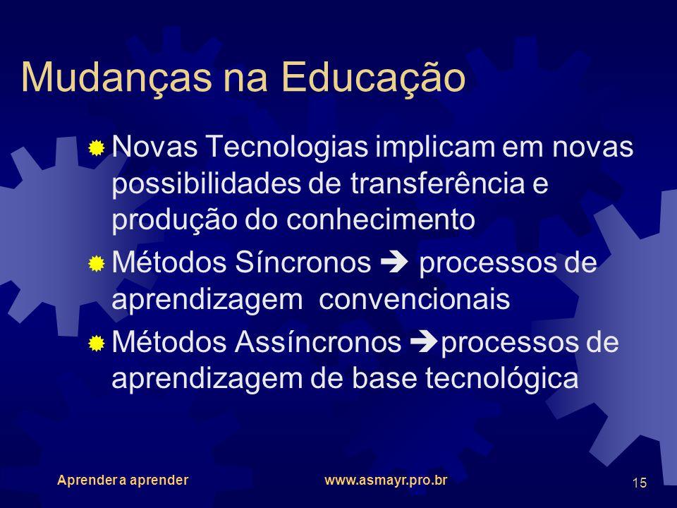 Aprender a aprender www.asmayr.pro.br 15 Mudanças na Educação Novas Tecnologias implicam em novas possibilidades de transferência e produção do conhec