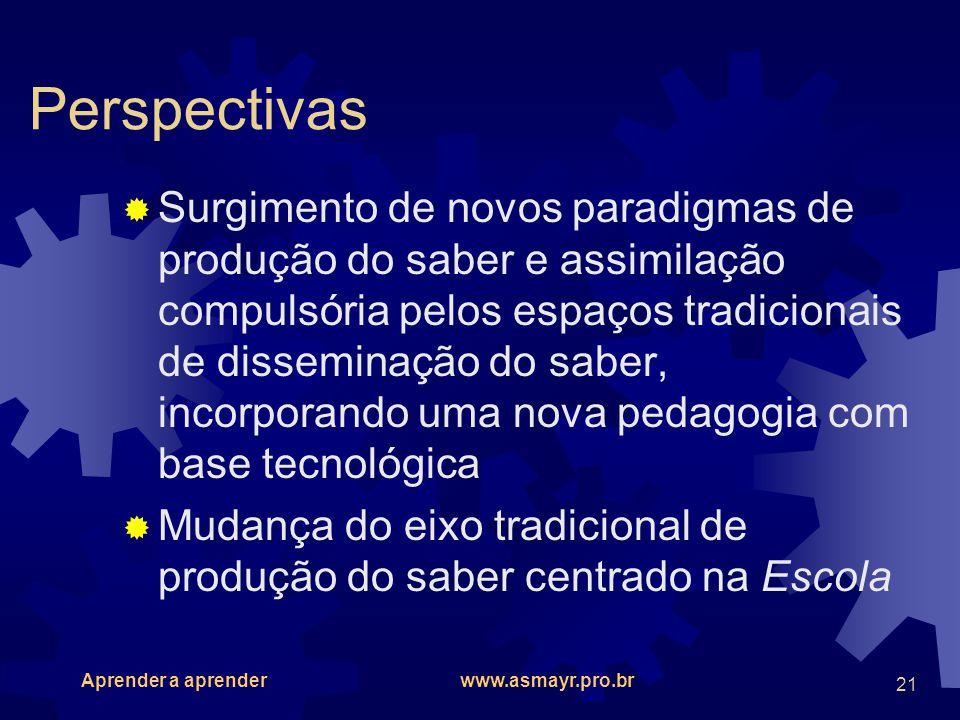 Aprender a aprender www.asmayr.pro.br 21 Perspectivas Surgimento de novos paradigmas de produção do saber e assimilação compulsória pelos espaços trad