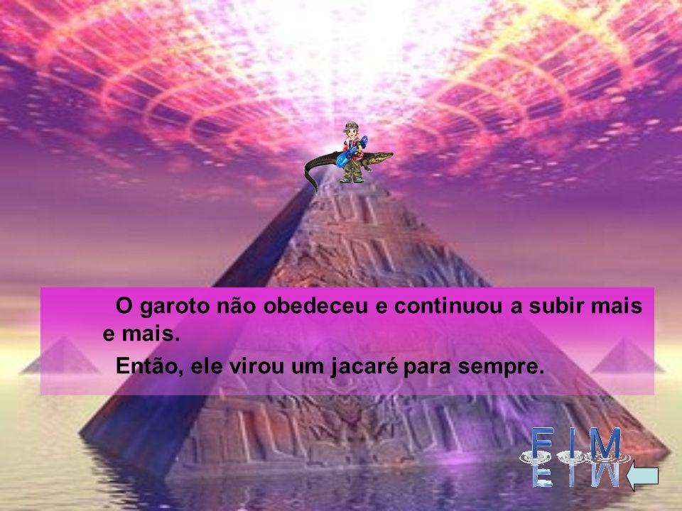 O menino foi e encontrou uma pirâmide linda. Ele subiu nela e ouviu a mesma voz que dizia assim: -Desça da pirâmide ou vai virar jacaré!